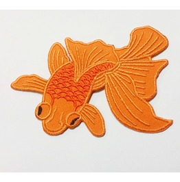 Embroidered Goldfish Iron On Patch.