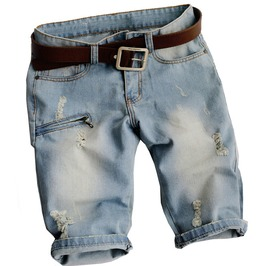 Zipper Pocket Rivet Ripped Denim Bermuda Shorts For Men