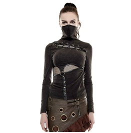 Womne's Steampunk High Collar Hollow Out Waist Long Sleeve Tops T 432