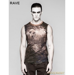 Coffee Steampunk Digital Printing Sleeveless T Shirt For Men T 466 Mco