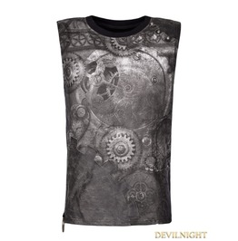 Black Steampunk Digital Printing Sleeveless T Shirt For Men T 466 Mbk