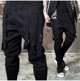 Multiple D Ring Strap Accent Black Drawcord Pants 136