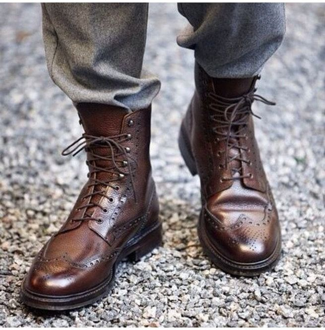 9e8af6b5cdb Handmade Men Wingtip Boots, Brown Ankle Leather Laceup Boot, Mens Boot