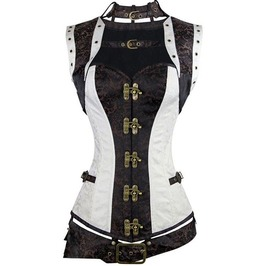 Gothic Halter Neck Metal Lock Buttons Overbust Corset