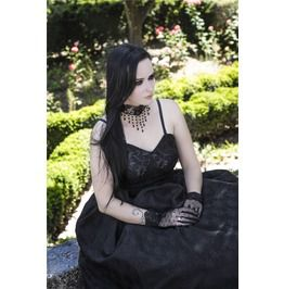 Dw044 Gothic Long Dress Gorgeous Layer Layer Ornament No Petticoat Incl.