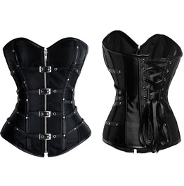 Zip Up Buckle Straps Overbust Corset