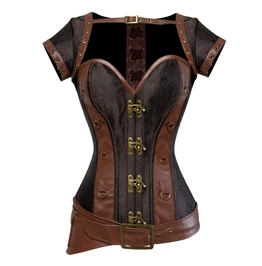 Gothic Buckle Strap Metal Clasp Overbust Corset