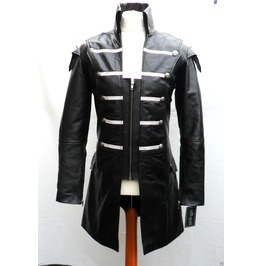 Men Gothic Leather Coat Steampunk Lambskin Goth Black Leather Jacket