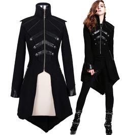 Steampunk Women Jacket Long Sleeve Black Leather Splice Coat Gothic Women