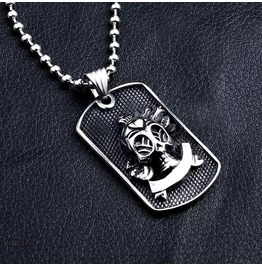 Steampunk Skull On Stainless Steel Dog Tags Style Pendant Necklace