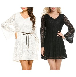 Summer Lace Long Sleeve Party Evening Cocktail Short Mini Dress