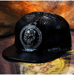 Steampunk Flat Baseball Cap,Skull Diamond Rivets Cortex Fashion Hip Hop Hat