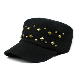 Retro Cotton Casual Sun Cap,Rivet Flat Top Unisex Hat