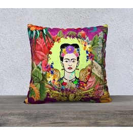 Large Frida Kahlo I Love Paris Vintage Print Velveteen Cushion Cover