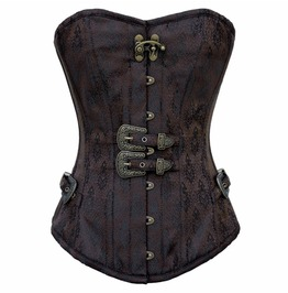 Gothic Vintage Double Buckle Overbust Corset