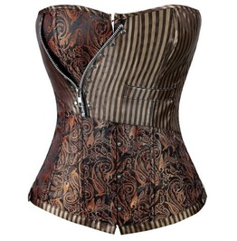 Brown Floral Zipper Overbust Corset