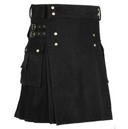 Handmade Cotton Gothic Kilt For Men With Cargo Pockets Black Utility Kilt