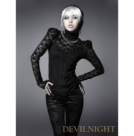 Black Lace High Collar Gothic Shirt For Women T 326