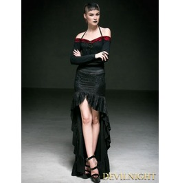 Black Cotton Halter Off The Shoulder Gothic Sexy Shirt For Women T 360