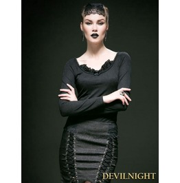 Black Cotton Long Sleeves Gothic Shirt For Women T 364