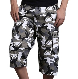 Multi Pocket Loose Fit Camouflage Combat Cargo Short Pants For Men