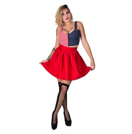 Rocker Skater Dress. Polka Dots And Stripes Crop Top, Red Skater Skirt