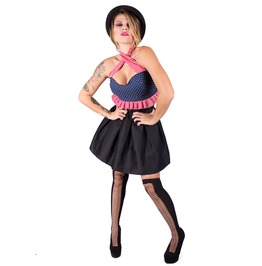Pin Up Skater Dress, Gothic 2 Pieces Dress, Polka Dots, Crop Top And Skirt