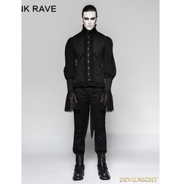 Black Gothic Dovetail Blouse For Men Y 739