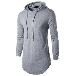 2159679995a Men's Classic Zip Hem Slim Fitted Longline Cotton Hoodies