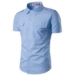 Men's Leisure Slim Fitted Pocket Short Sleeves Shirt