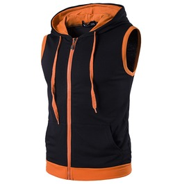 Men's Colorblock Sleeveless Hooded Zip Up Tank Tops