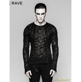 Black Gothic Hollow Out Strappy Sweater For Men T 474