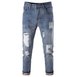 Men's Slim Fitted Destoryed Denim Pants Jeans