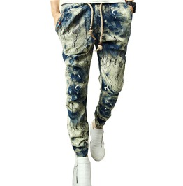 Washed Faded Paint Print Cotton Elastic Waist Jogger Pants