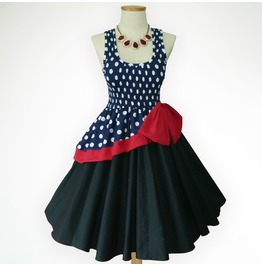 Fantastic Dreams Vintage Blue Polka Dot 50s Pin Up Rockabilly Swing Dress