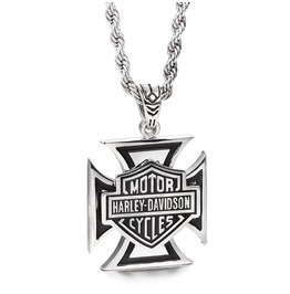 Men's Gothic Harley Davidson Cross Motor Pendant Necklace