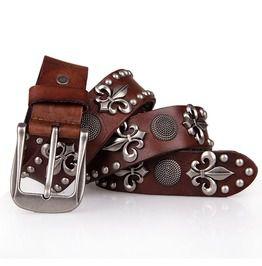 Mens punk rock skull rivet studded belt buckle belt belts and buckles