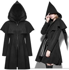 Women's Hooded Coat Gothic Jacket Black Punk Rave Hoodie Coat Witch Cloak
