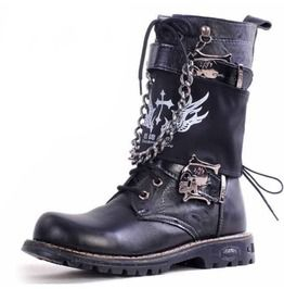 Men s Punk Rock Skull Buckle Martin Boots With Detachable Badge And Chain cc971a941ab8