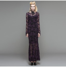 Women's Gothic Sexy Lace Backless Slim Fitted Maxi Dress T03202