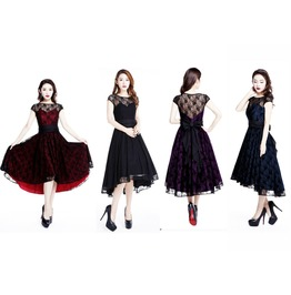 Red Black Blue Purple Lace Party Gothic Rockabilly 50s Dress Free Shipping