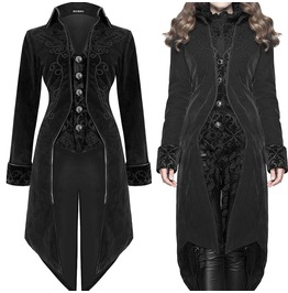 Devil Fashion Womens Coat Jacket Black Velvet Goth Steampunk Aristocrat Reg