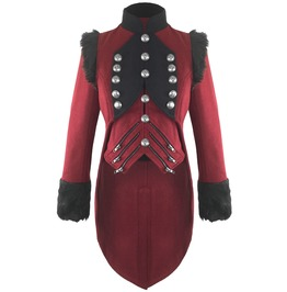 Womens Gothic Military Coat Jacket Red Black Tailcoat Gothic Vtg Steampunk