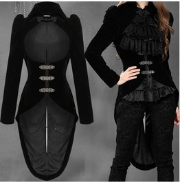 Women Dark In Love Gothic Tailcoat Jacket Black Velvet Steampunk Victorian