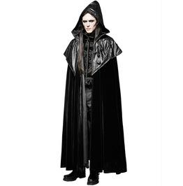 Punk Men Cloak Coat Black Velvet Faux Leather Gothic Long Coat Steampunk Vt