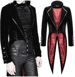 Men Punk Tailcoat Jacket Black Velvet Gothic Vampire Coat Steampunk Swallow