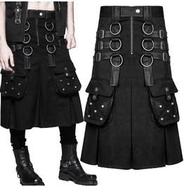 Men Punk Utility Kilt Black Gothic Kilt Dieselpunk Faux Leather Straps Poc