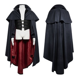 Men Punk Dracula Cloak Coat Gothic Blue Black Romantic Vampire Cosplay Cape