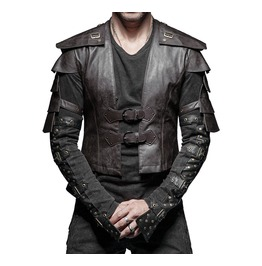 Men Gothic Vest Steampunk Brown Waistcoat Faux Leather Victorian Style Armo