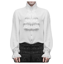 Men Devil Fashion Shirt Top White Gothic Steampunk Victorian Regency Aristo